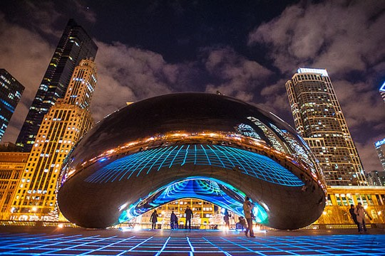 LuftWerk's Luminous Field Lights Up Anish Kapoor's Cloud Gate