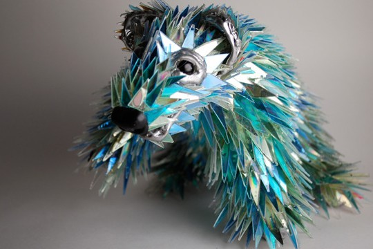 Broken CDs Transformed Into Iridescent Animal Sculptures