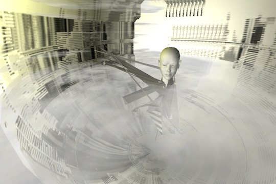 A Disembodied Head Floats In The Stratosphere: Interactive Glitch Art Piece Compress Process