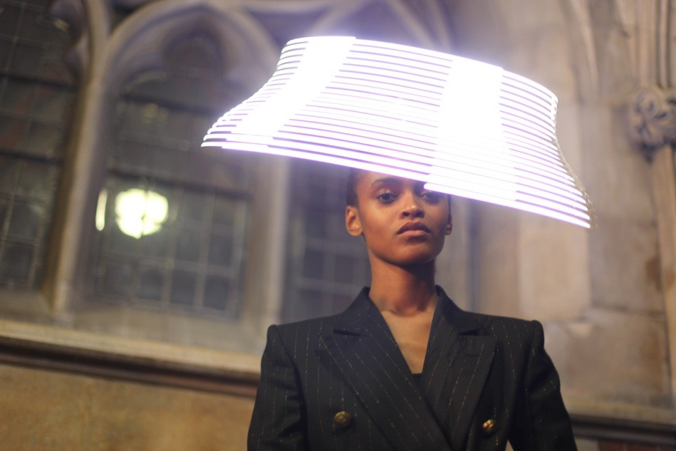 "Moritz Waldemeyer's Idea Of ""Millinery For The 21st Century"" Includes A Spinning LED Propeller Headpiece"