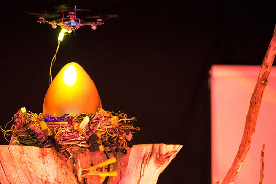 Watch Some Flying Robots Guard A Golden Egg While Spying On The Audience In New York Tonight