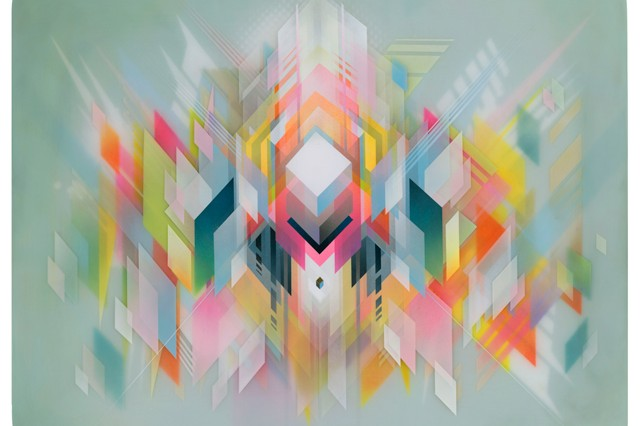 Painting Colorful Geometric Images That Mimic The Digital