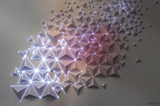 AntiVJ's Joanie Lemercier Maps Light Projections To 3D Origami Walls