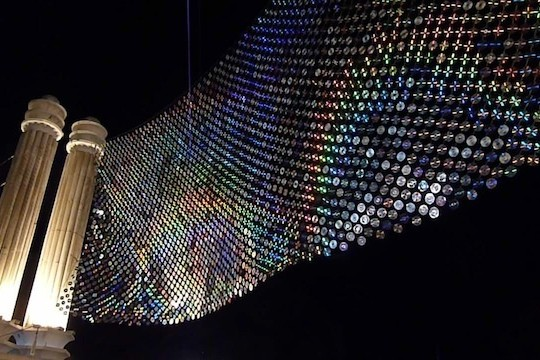 6,000 CDs Used To Make Giant Light Wall In Bulgaria