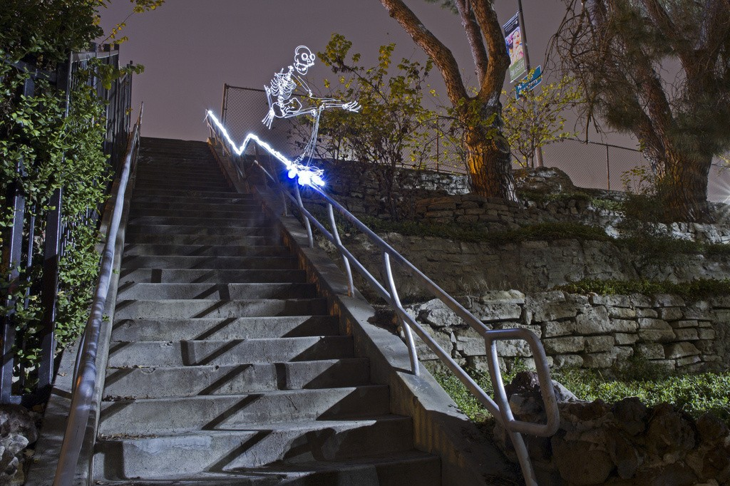 Animated Light Paintings Of Skeletons Skateboarding And Breakdancing