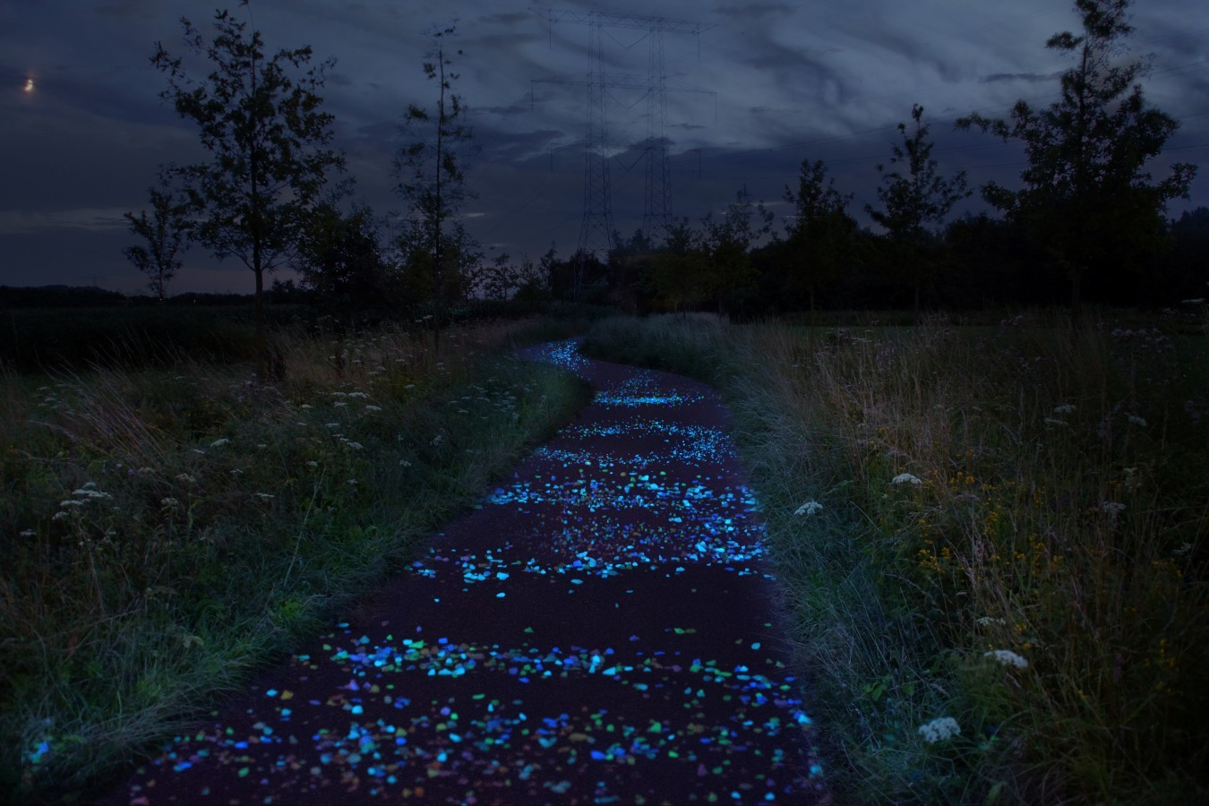 A Glowing Bicycle Path Takes Inspiration from Van Gogh's 'The Starry Night'