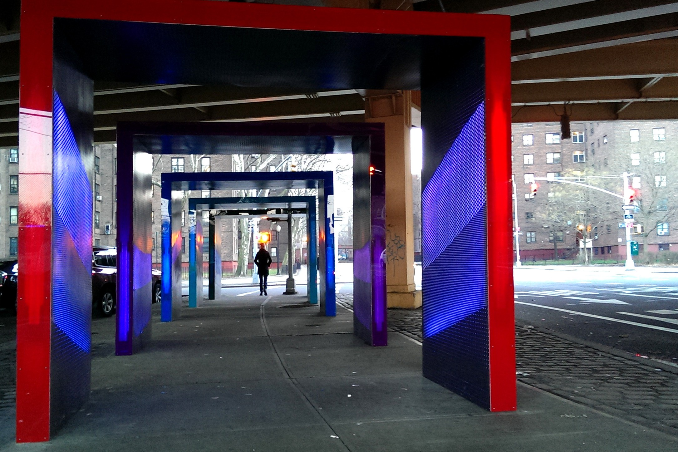 Brooklyn Installation Turns Traffic Noise Into An Exuberant Light Vista