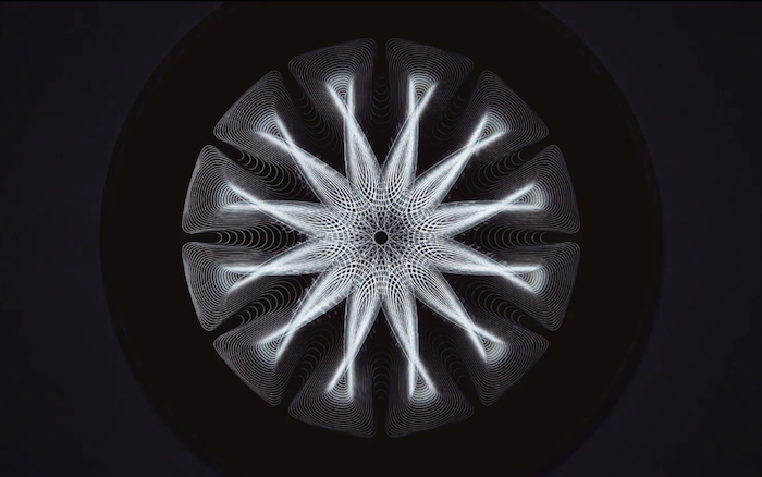 Projections on a Metal Sculpture Visualize Next-Level Geometry