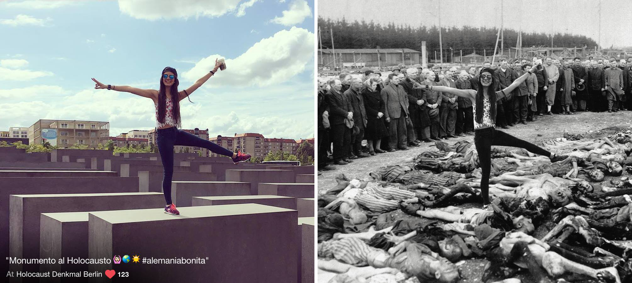 YOLOCAUST photoshoppe des touristes débiles au milieu des camps de concentration
