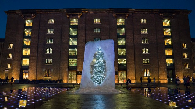 This Giant Christmas Tree Suspended in an Ice Cube Isn't What It Seems