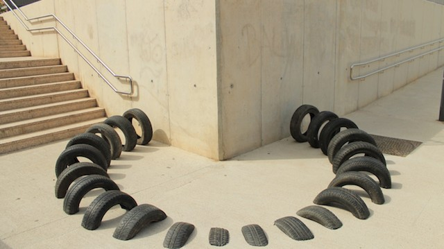 Sculptures Made with Old Tires Melt into Barcelona's Streets