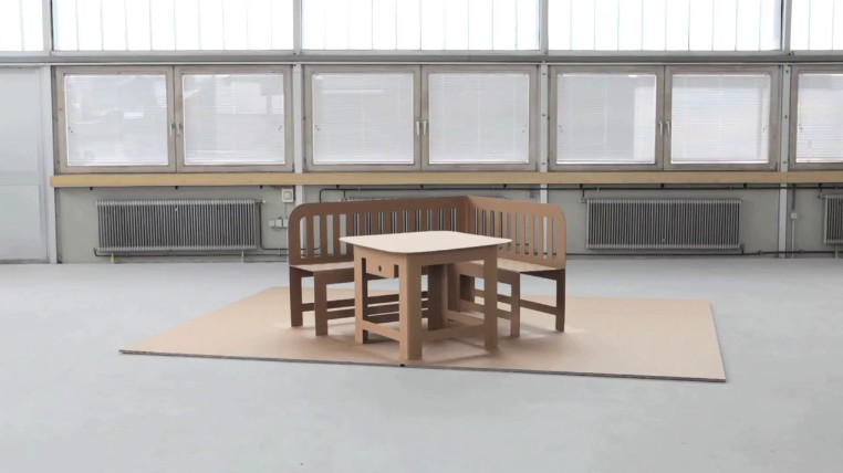 Cardboard Furniture Unfolds Like a Pop-Up Book